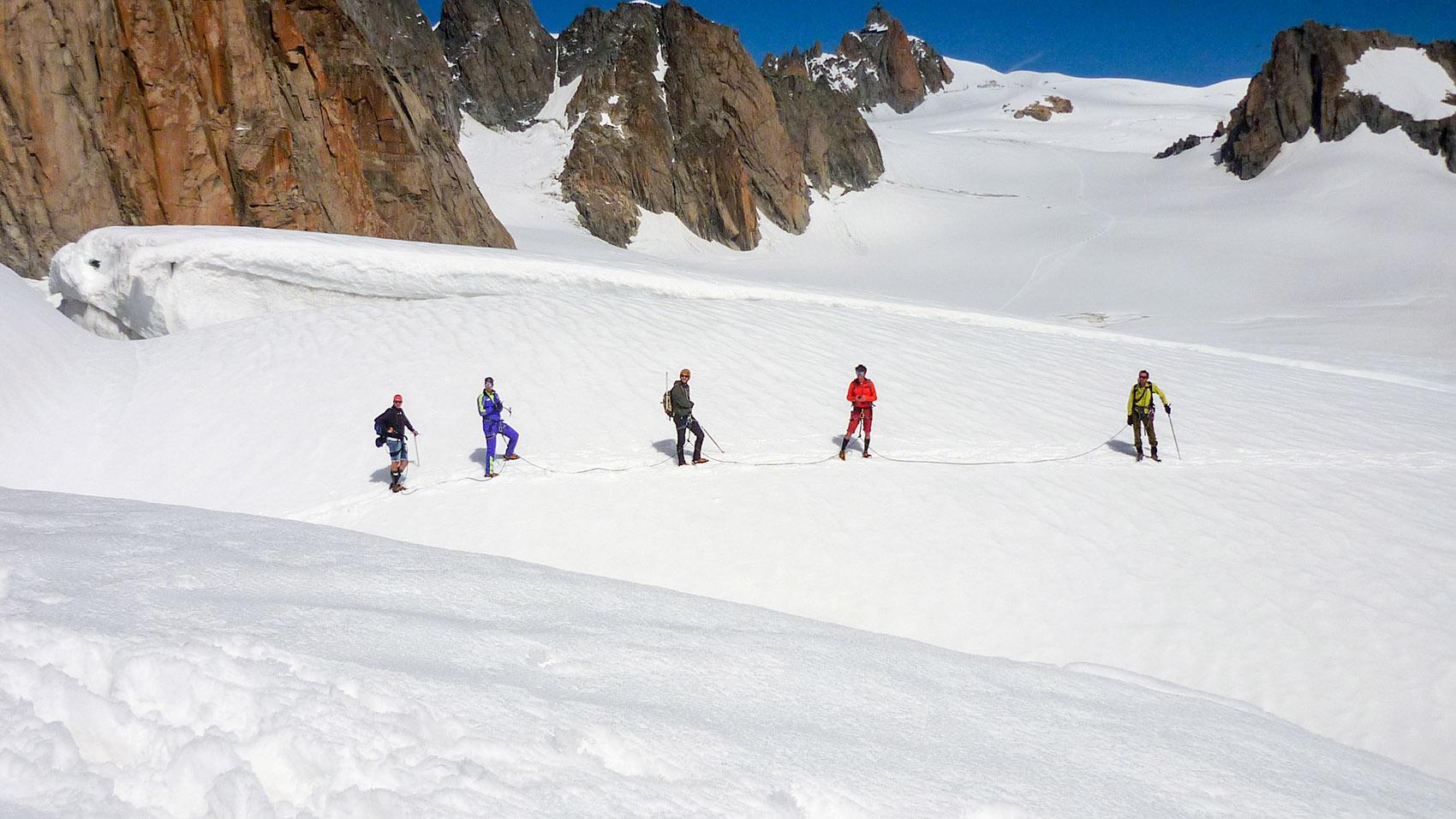 Cordée en sécurité Mont Blanc
