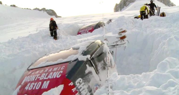 Tempête Eleanor : rupture de câble du Panoramic Mont Blanc
