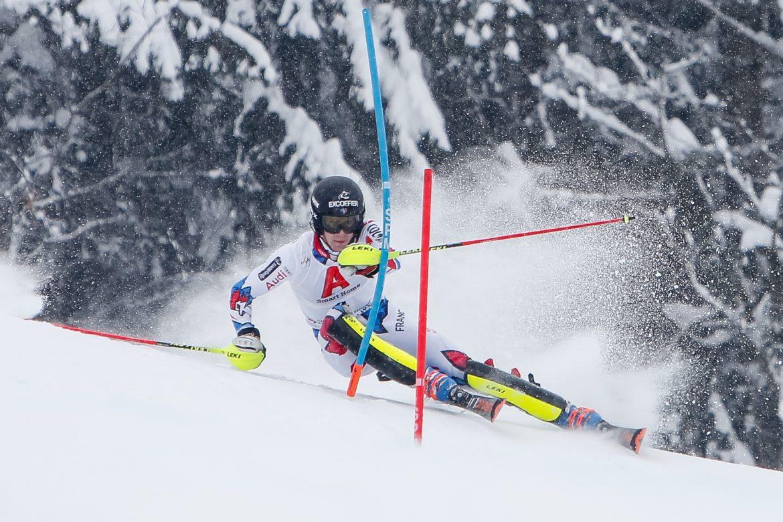 Clément Noël pendant une étape de la coupe du monde de Slalom, le 26 Janvier 2019 à Kitzbuehel en Autriche. (Photo de Alexis Boichard/Agence Zoom)