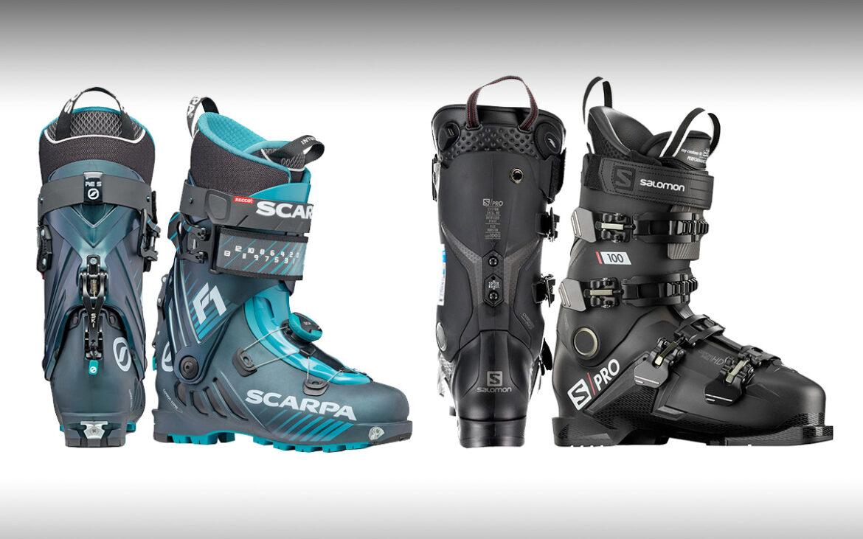 À gauche, une Scarpa F1 pour la rando, à droite une Salomon S/Pro 100 pour l'alpin